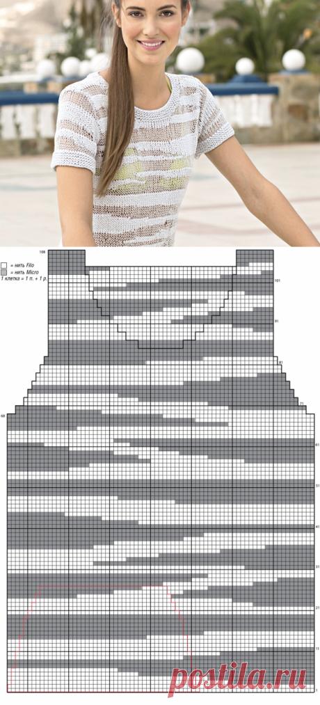 Джемпер с интарсиями из разных видов пряжи - схема вязания спицами с описанием на Verena.ru