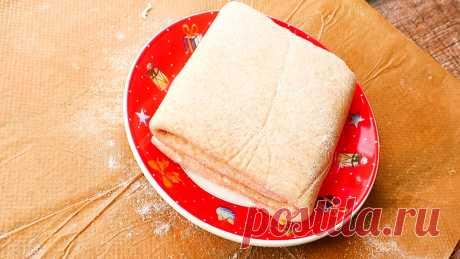 """Слоеное тесто без хлопот Приготовить слоеное тесто в домашних условиях очень просто, оно получается в миллион раз вкуснее, чем готовое слоеное тесто из магазина. Готовим со сливочным маслом. Процесс не займет у вас много времени, а результат приятно удивит.) Такое тесто идеально подойдет для приготовления настоящего """"Наполеона""""."""