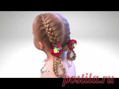 Красивая Прическа Крендели. Прически для детей - YouTube