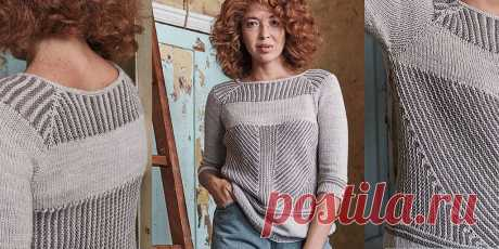 Пуловер укороченными рядами Arbus Полосатый пуловер укороченными рядами спицами. Кокетка частично формируется укороченными рядами, а частично вяжется типичным регланом. И корпус выполнен комбинацией укороченных рядов и чистой лицевой глади.