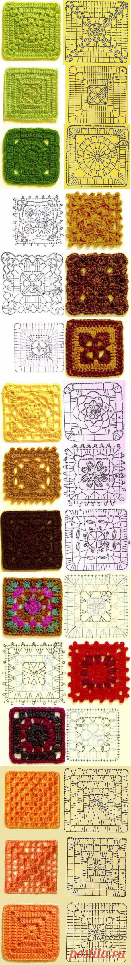 Grandmother's squares in knitting - 30 schemes.