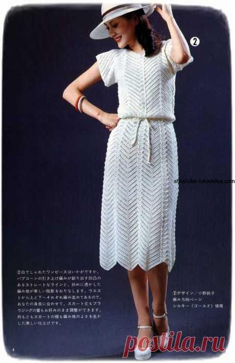 Платье зигзагообразным узором Платье зигзагообразным узором крючком. Белое женское винтажное платье схемы