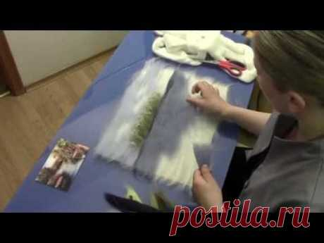 """ЖИВОПИСЬ  ШЕРСТЬЮ """" БЕРЕГ"""" / FELTING of  PICTURE /  HOW TO MAKE A PICTURE of  WOOL"""