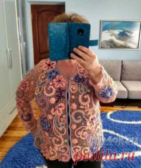 Жакет Марго связан в технике ирландского кружева Автор Елена Павленко.Работа связана по идее Шеиной М. Использовалась пряжа «Фило ди скозия», 100% хлопок, пряжа «Атлас» 100% полиэстер для отделки мотивов. На