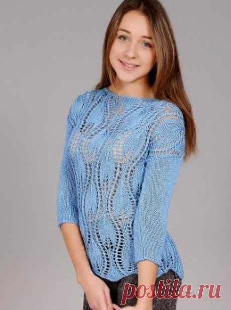 Вязание крючком и спицами - Пуловер узором листья