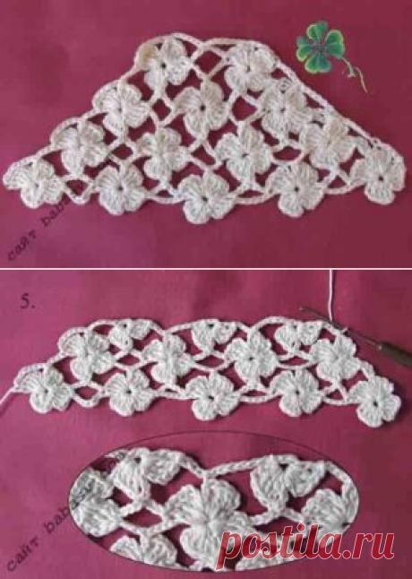 Клеверные мотивы крючком: 14 штук на рукаве