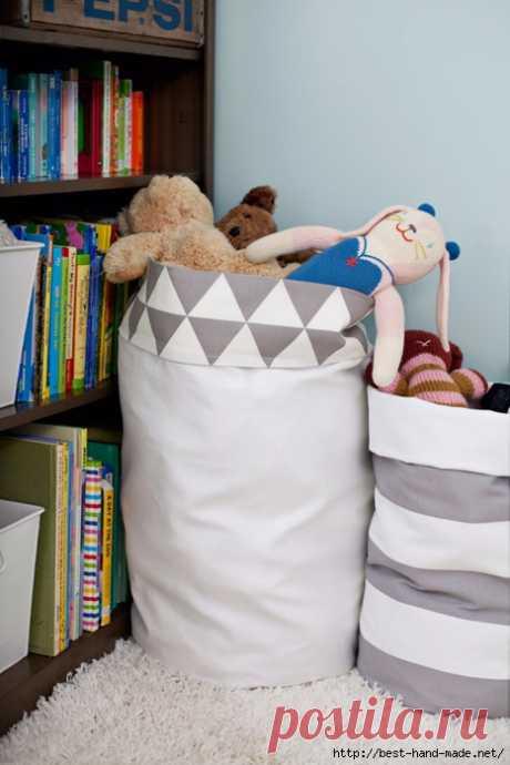 Удобные мешки из ткани для хранения вещей. Мастер-класс.