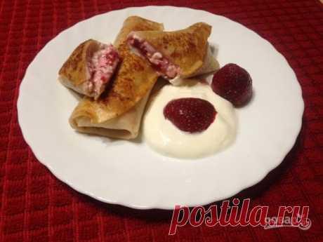 Блинчики с творогом и замороженной клубникой - пошаговый рецепт с фото на Повар.ру