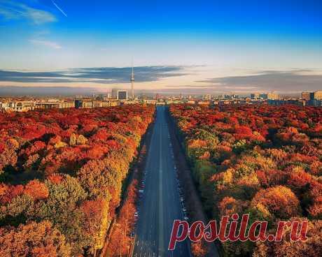 Картинки германия, город, берлин, дома, природа, пейзаж, дорога, шоссе, лесопарк, деревья, осень - обои 1280x1024, картинка №355631