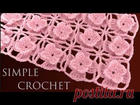 Bufanda Rosa a Crochet en Punto de flores en 3D tejido para manta en ganchillo