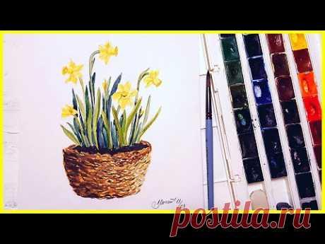 Рисуем цветы акварелью! Запись трансляции! 05.03.18