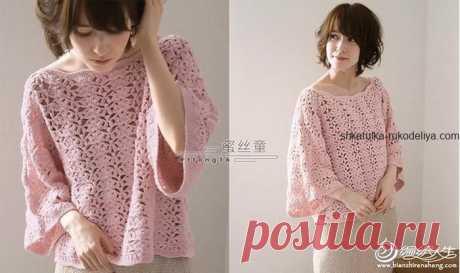 Свободная блуза Свободная блуза крючком. Женская блуза с широким рукавом крючком