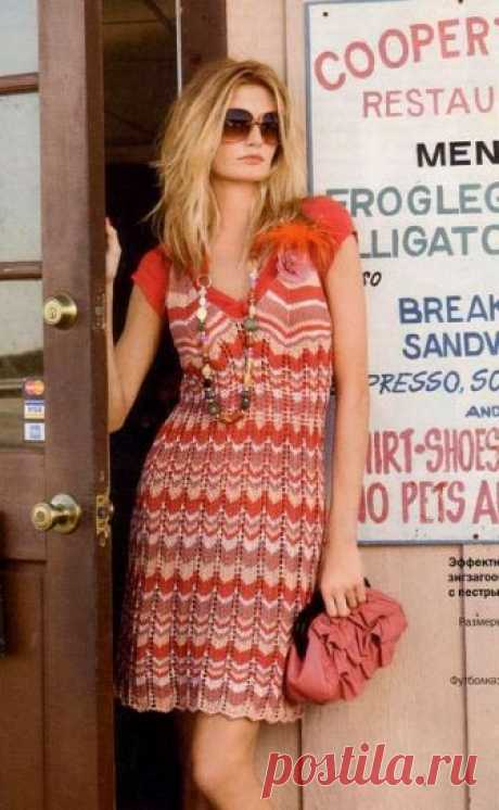 Вязаное платье спицами в стиле Миссони - Портал рукоделия и моды