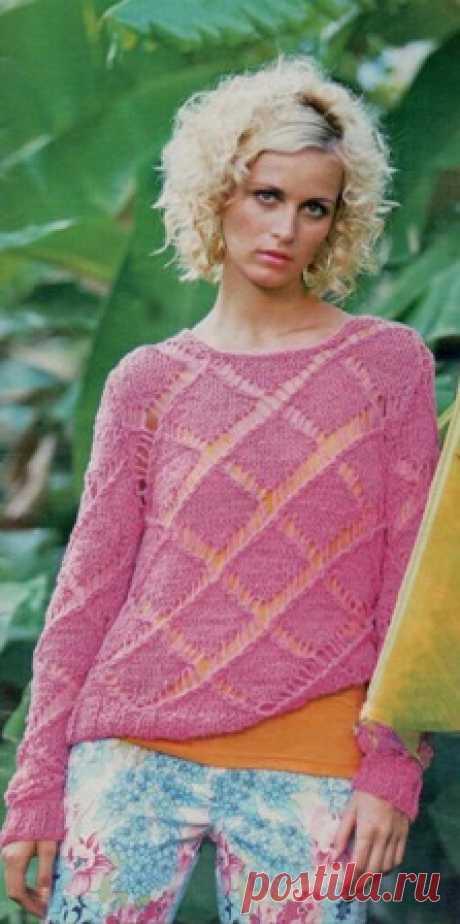 Пуловер с ажурными ромбами. | Пуловер, свитер, жакет. Связать пуловер из лентовидной пряжи с ажурными ромбами. Подробно описание вязания пуловера. Схема ажурных ромбов для пуловера.