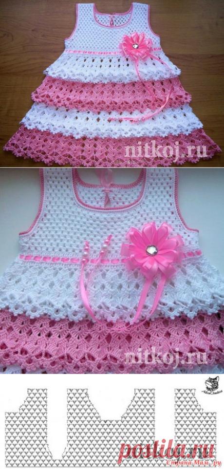 Платье для девочки крючком от Кузнецовой Юлии » Ниткой - вязаные вещи для вашего дома, вязание крючком, вязание спицами, схемы вязания