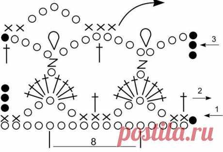 Ажурный узор \»Веер\» для вязания крючком. Схема | Klubka.net
