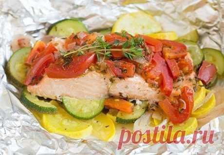 Как приготовить лосось в фольге с овощами. - рецепт, ингредиенты и фотографии