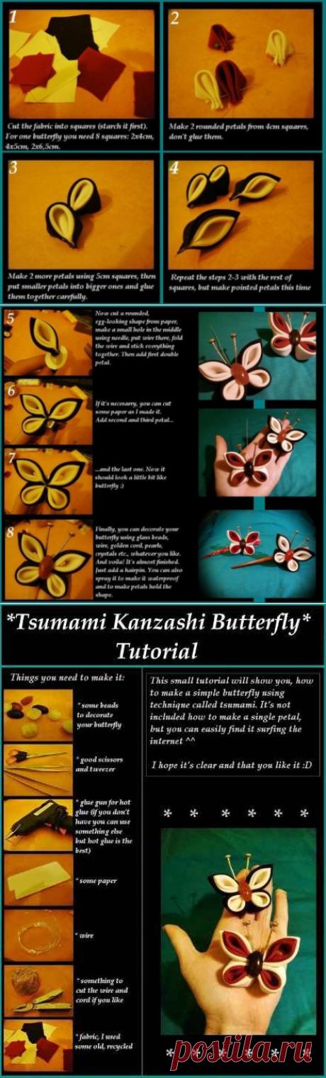 Как сделать бабочку в технике канзаши / Цветы из ткани своими руками и вязанные крючком. Заколки для волос / Ёжка - стихи, загадки, творчество и уроки рисования для детей