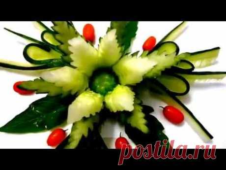 Flower from a cucumber. Jewelry from a cucumber. Flower cucumber. Decoration of cucumber. - YouTube