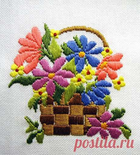 Цветы в вышивке гладью, от простого к сложному | ВЕРА БУРОВА, канал про вышивку | Яндекс Дзен