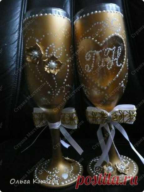 Фужеры на золотую свадьбу | Страна Мастеров