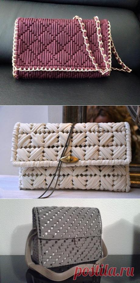 Сумочки из трикотажной пряжи или шнура без вязания