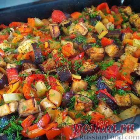 Запечённые овощи в чесночном маринаде