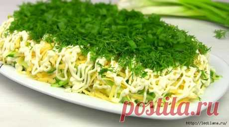 Салат «Селёдка под зеленой шубой» с сыром без свеклы