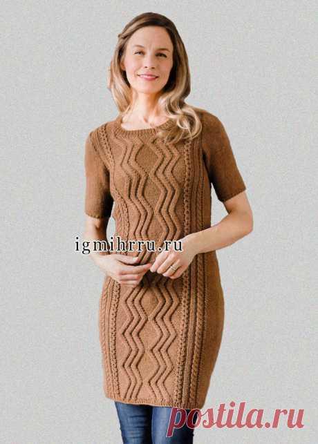 Теплое платье-туника коричневого цвета. Спицы