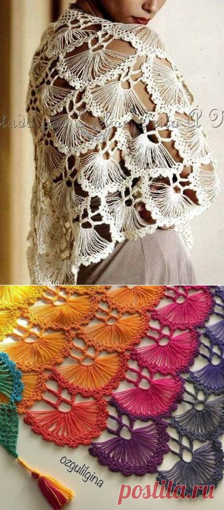 Изящная шаль необычным узором (Вязание крючком) – Журнал Вдохновение Рукодельницы
