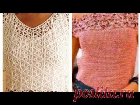 Women's T-shirts, crochet tops with schemes - Женские майки, топы крючком со схемами