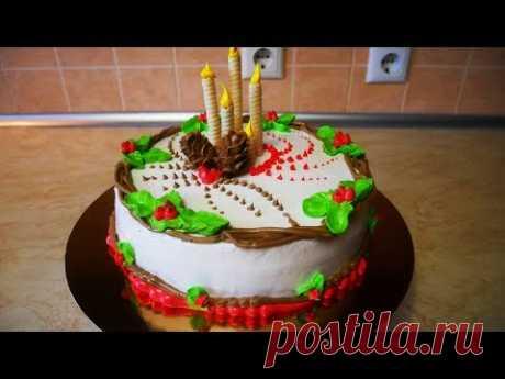 Торт на НОВЫЙ ГОД  ШОКОЛАДНЫЙ торт ПРАЗДНИЧНОЕ украшение