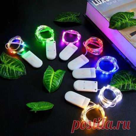 Светодиодный светильник, 2 м, 20 светодиодов, кнопка батареи, серебряный провод, Свадебная вечеринка, Сказочная гирлянда, подарок, Декор, светильник, Рождество, праздник, светильник|Светодиодная лента| | АлиЭкспресс