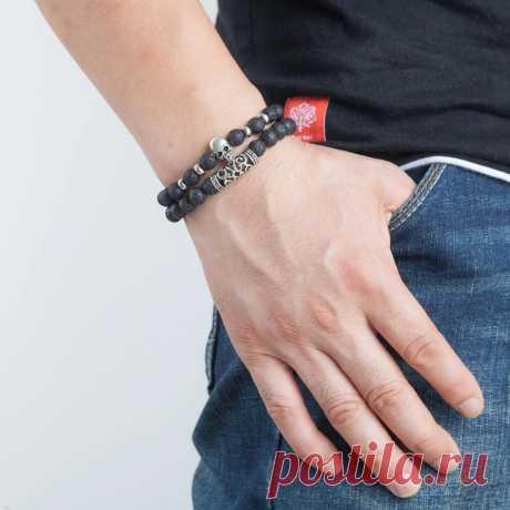 Black lava beaded bracelet for men stainless steel double layered wheat link skull charm bracelets male halloween jewelry Sale - Banggood.com