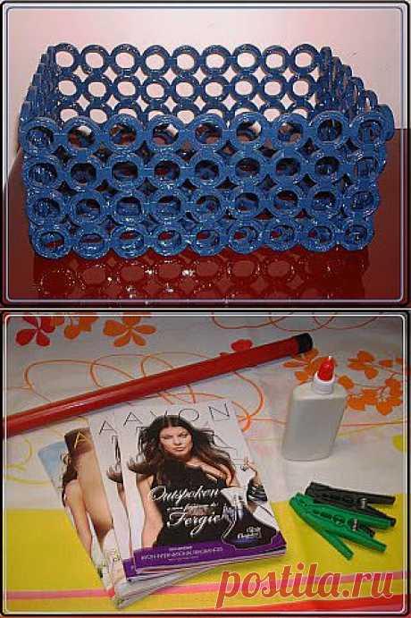 Плетение из газет: корзина из каталогов Avon   Своими руками