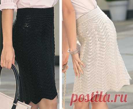 Прекрасная деловая юбка с фигурным краем
