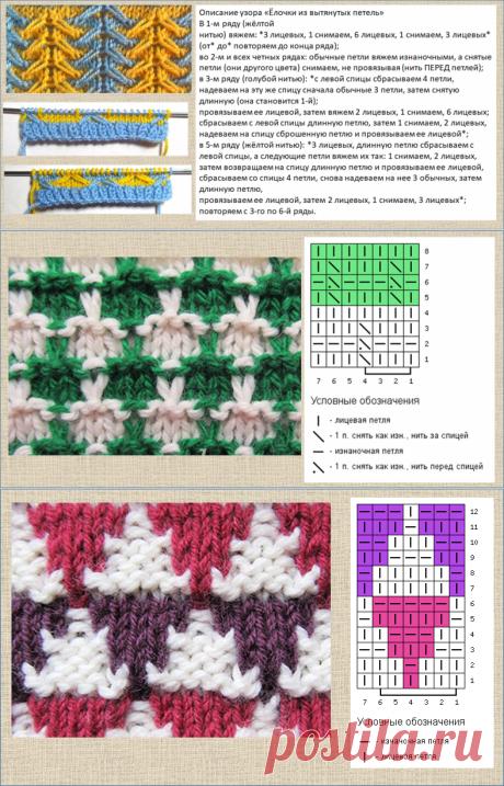 25 схем и образцов для интересного двух- и трехцветного вязания спицами - в копилку мастериц | МНЕ ИНТЕРЕСНО | Яндекс Дзен