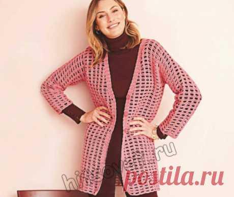 Розовый сетчатый кардиган крючком - Хитсовет Вязание крючком для женщин розового сетчатого кардигана со схемами и пошаговым бесплатным описанием.