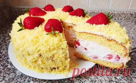 """Прекрасный лёгкий торт """" Клубничная Мимоза"""". Мой любимый быстрый торт!"""