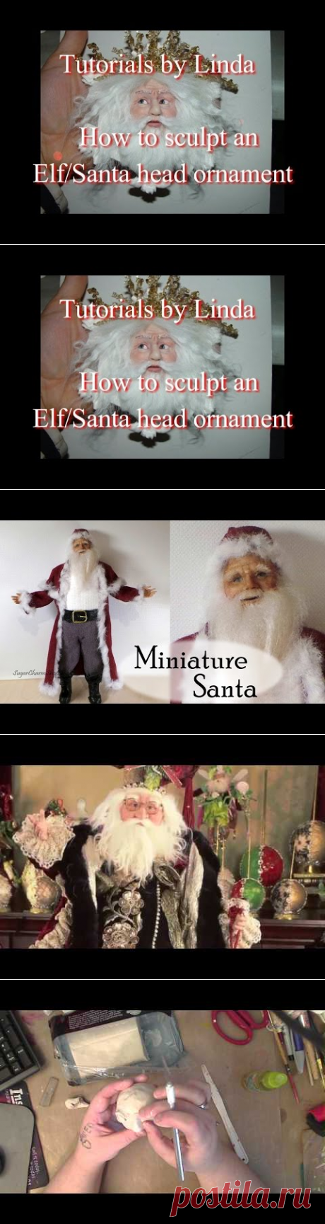 Tutorial how to sculpt a Polymer clay Santa ornament part two - YouTube
