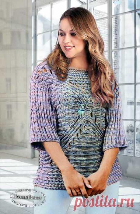Женский пуловер спицами патентной резинкой в поперечном направлении - вязание для полных женщин