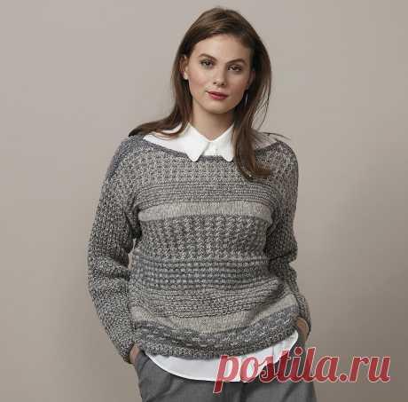 Серый джемпер с вырезом-лодочкой — схема вязания спицами с описанием на BurdaStyle.ru