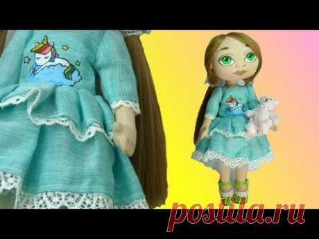 Полина - текстильная кукла в мятном платье с единорогом