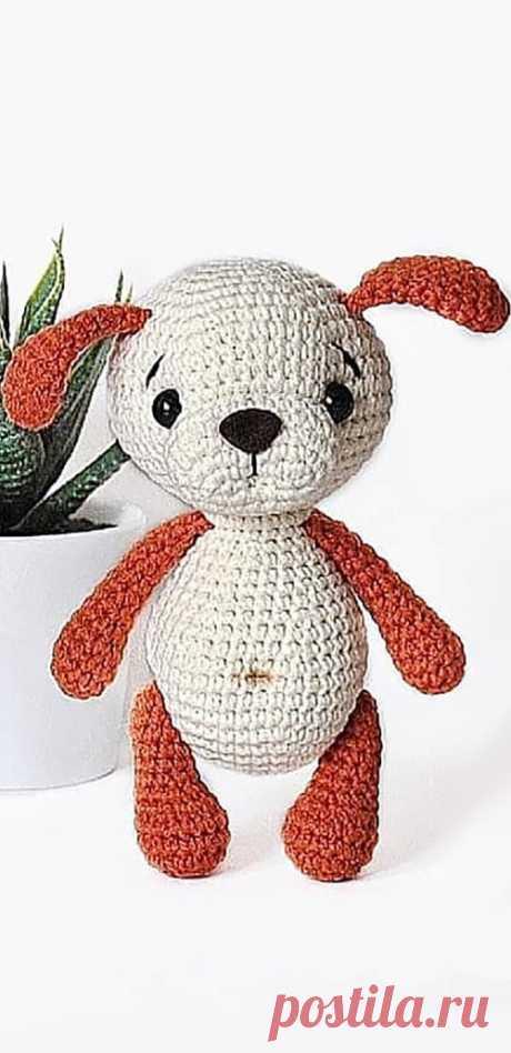 PDF Собачка крючком. FREE crochet pattern; Аmigurumi doll patterns. Амигуруми схемы и описания на русском. Вязаные игрушки и поделки своими руками  #amimore - Собака, пёс, маленькая собачка, щенок, пёсик.