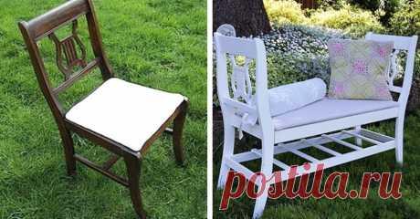 Скамья из двух стульев