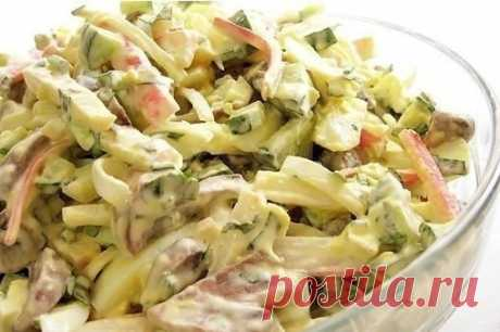 Грибной салат с крабовыми палочками — Кулинарная книга - рецепты с фото