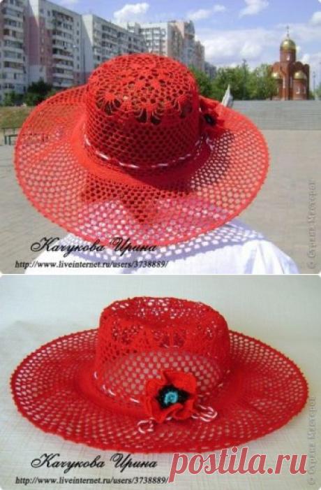 Ажурная шляпа МАК крючком
