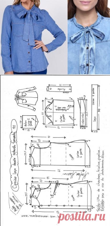 Camisa com laço, decote redondo – DIY – molde, corte e costura – Marlene Mukai