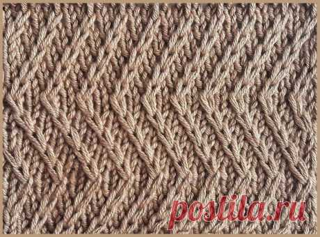 "Узор спицами ""Диагонали-зигзаги"" #knitting #вязание_спицами #узоры_спицами"