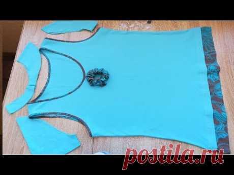 Отделка майки остатками ткани  Демонстрация готовой реконструкции платья 46р в блузку 52р